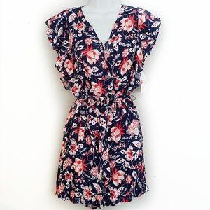 Pants - NWT floral navy + red flutter sleeve short romper